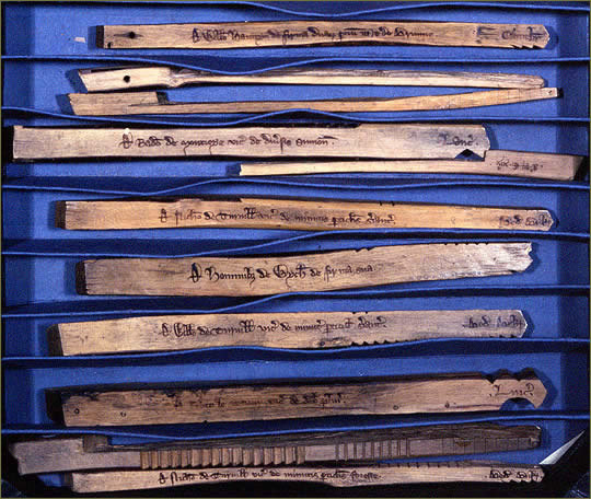 Collection of 13th Century Tally Sticks
