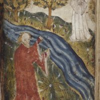 The Poet and Pearl from the poem, <em>Pearl</em> (detail from MS. Cotton Nero A. X., f. 42r)