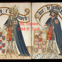 Edward III and Duke of Lancaster with Coats of Arms (detail from British Library MS Stowe 594 ff. 7v-8)