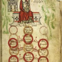 King Henry III with facade of Westminster Abbey (Royal MS 20 A II, f. 94)