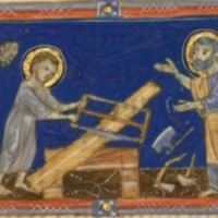 Jesus and Joesph sawing a wooden plank.