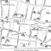 Map of Cannon Street (Candlewick Street), in the Middle Ages